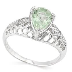 RING - 1 1/5 CARAT GREEN AMETHYST & DIAMOND IN 925 STERLING SILVER SETTING - SZ 7 - RETAIL ESTIMATE