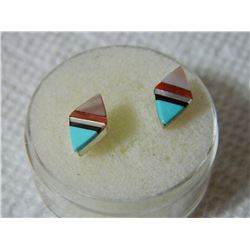 ESTATE - EARRINGS - STERLING SILVER WITH ABALONE - PIERCED