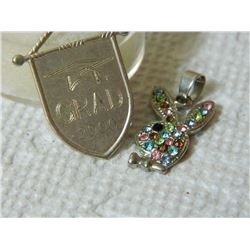 ESTATE - PENDANTS - GRAD 2000 & AS-IS RHINESTONE PLAYBOY BUNNY = 2PC TTL