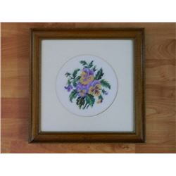 FRAMED PETTI POINT - PANSIES - PURPLE, YELLOW