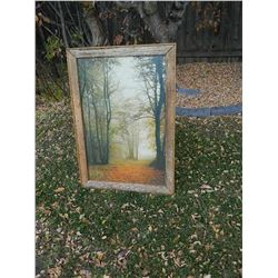 "FRAMED PICTURE - PATH IN WOODS - RUSTIC WOOD FRAME - 40 ½"" TALL"