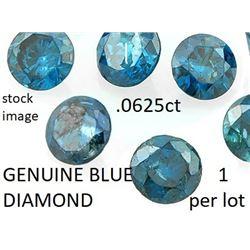 GEMSTONE - GENUINE BLUE DIAMOND - 0.0625 CARAT (2.5mm) BLUE DIAMOND - BRILLIANT ROUN CUT - INCLUDES