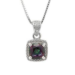 """NECKLACE - 1 CARAT MYSTIC GEMSTONE & 2 DIAMOND IN 925 STERLING SILVER SETTING - INCLUDES 20"""" 18K WHI"""