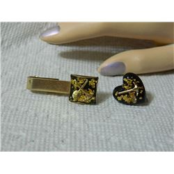 GOLD IN RESIN - MONEY CLIP AND HEART EARRING - GOLD SHOVEL & PICK WITH GOLD FLAKES
