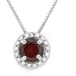 """NECKLACE - 1 CTW GARNET &  GENUINE DIAMONDS IN 925 STERLING SILVER - INCLUDES 20"""" 18K GOLD OVER 925"""