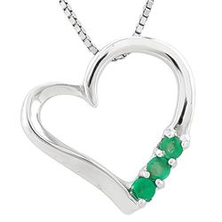 ***** FEATURE ITEM **** NECKLACE-1/3 CARAT EMERALD IN 925 STERLING SILVER HEART SETTING - INCLUDES 2