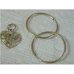 PENDANT & EARRINGS - SILVER - 2 PC TTL - some may be as-is