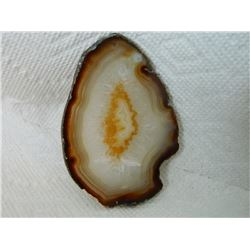 """POLISHED AGATE SLICE - SMALL DRILLED HOLE AT TOP - 4"""""""