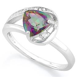 RING - 1 1/5 CARAT MYSTIC GEMSTONE & DIAMOND IN 925 STERLING SILVER SETTING - SZ 7 - RETAIL ESTIMATE