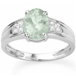 RING - 1 4/5 CARAT GREEN AMETHYST & DIAMOND IN 925 STERLING SILVER SETTING - SZ 7 - RETAIL ESTIMATE