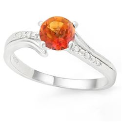 *RING -  3/4 CARAT AZOTIC GEMSTONE & GENUINE DIAMONDS IN 925 STERLING SILVER SETTING - SZ 8 - INCLUD