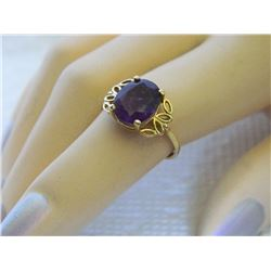 FROM ESTATE - RING - 10K YELLOW GOLD WITH AMETHYST GEMSTONE - AMETHYST 9.9mm x 8mm - SZ. 5 3/4