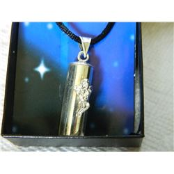 "FROM ESTATE - NECKLACE - WISHES, HOPES AND DREAMS - CAPSULE ON ROPE WITH ANGEL - CAPSULE 1.3"" LONG ."