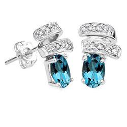 **** FEATURE ITEM **** EARRINGS - NEW 1.12 CARAT LONDON BLUE TOPAZ & (14 PCS) DIAMOND (VS) IN 14KT S