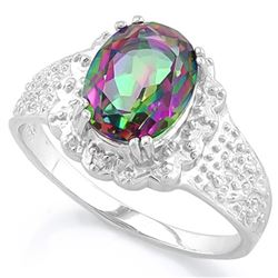 *RING - 1 4/5 CARAT MYSTIC GEMSTONE & 2 GENUINE DIAMONDS IN 925 STERLING SILVER SETTING - SZ 7 - INC