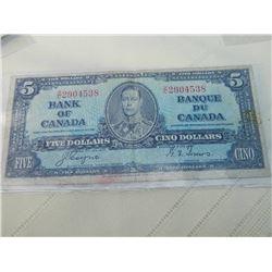 PAPER NOTE - CANADA - $5 - 1937