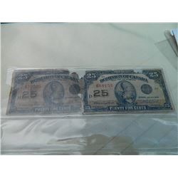 PAPER NOTE - DOMINION OF CANADA - 25 CENT - 2 TTL - as-is