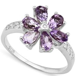 RING -  1.35 CT AMETHYST & 1PCS GENUINE DIAMOND IN PLATINUM OVER 0.925 STERLING SILVER SETTING - SZ