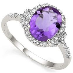 RING -  2.41 CARAT  AMETHYST & GENUINE DIAMONDS IN PLATINUM OVER 0.925 STERLING SILVER SETTING - SZ
