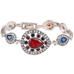 BRACELET - VINTAGE STYLE CRAFTING OF GEMS IN GERMAN STERLING SILVER SETTING WITH 18K GOLD FINISH - R