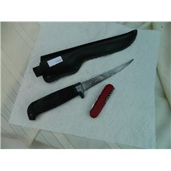 KNIFE - 2 TTL - AS-IS FILET KNIFE WITH SHEATH AND RED MULTI KNIFE