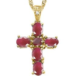 *PENDANT - 5 OVAL FACETED BURGUNDY RUBY (0.90 CTW) & DIAMOND IN YELLOW GOLD OVER 925 STERLING SILVER