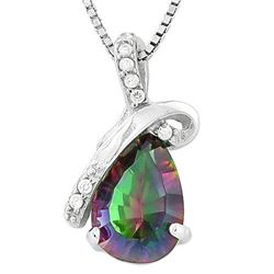 NECKLACE -  1.2 CARAT MYSTIC GEMSTONE & 2 CREATED DIAMOND IN PLATINUM OVER 925 STERLING SILVER SETTI