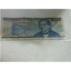 PAPER NOTE - EL BANCO DE  MEXICO S.A. CINCUENTA PESOS - 1981