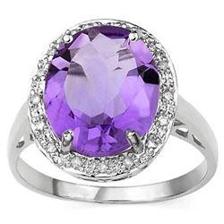 RING - 4 1/4 CARAT AMETHYST & DIAMOND IN 925 STERLING SILVER SETTING - SZ 7 - RETAIL ESTIMATE $550