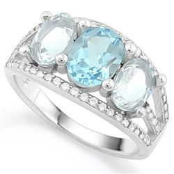 RING - BABY SWISS BLUE TOPAZ & 3 CARAT AQUAMARINE IN 925 STERLING SILVER SETTING - SZ 7 - RETAIL EST