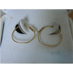 FROM ESTATE - EARRINGS - 10K YELLOW GOLD HOOP DESIGN - 13mm DIAMETER