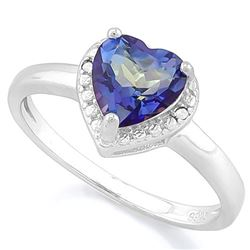 RING - 1 1/4 CARAT VIOLET MYSTIC GEMSTONE & DIAMOND IN 925 STERLING SILVER SETTING - SZ 7 - RETAIL E