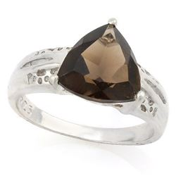 RING -  2 2/3 CARAT SMOKEY TOPAZ IN 925 STERLING SILVER SETTING - SZ 8 - RETAIL ESTIMATE $500