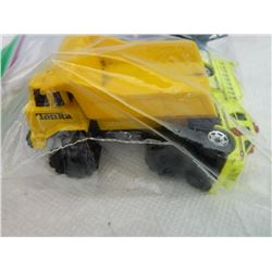 BAG OF METAL TOYS - TONKA DUMP TRUCK, BF GOODRICH FIRE TRUCK & MORE- 4 TTL