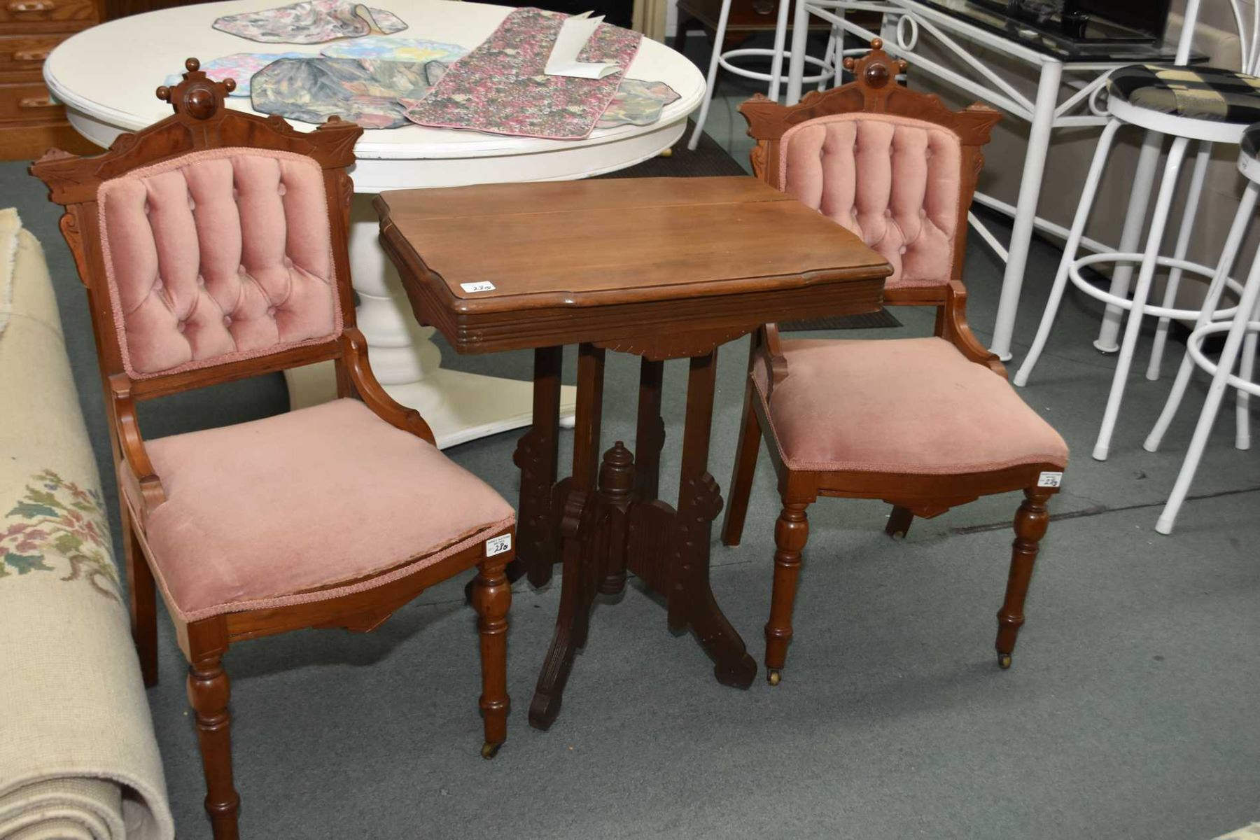 Three Pieces Of Antique Eastlake Furniture Including Two Tufted Side