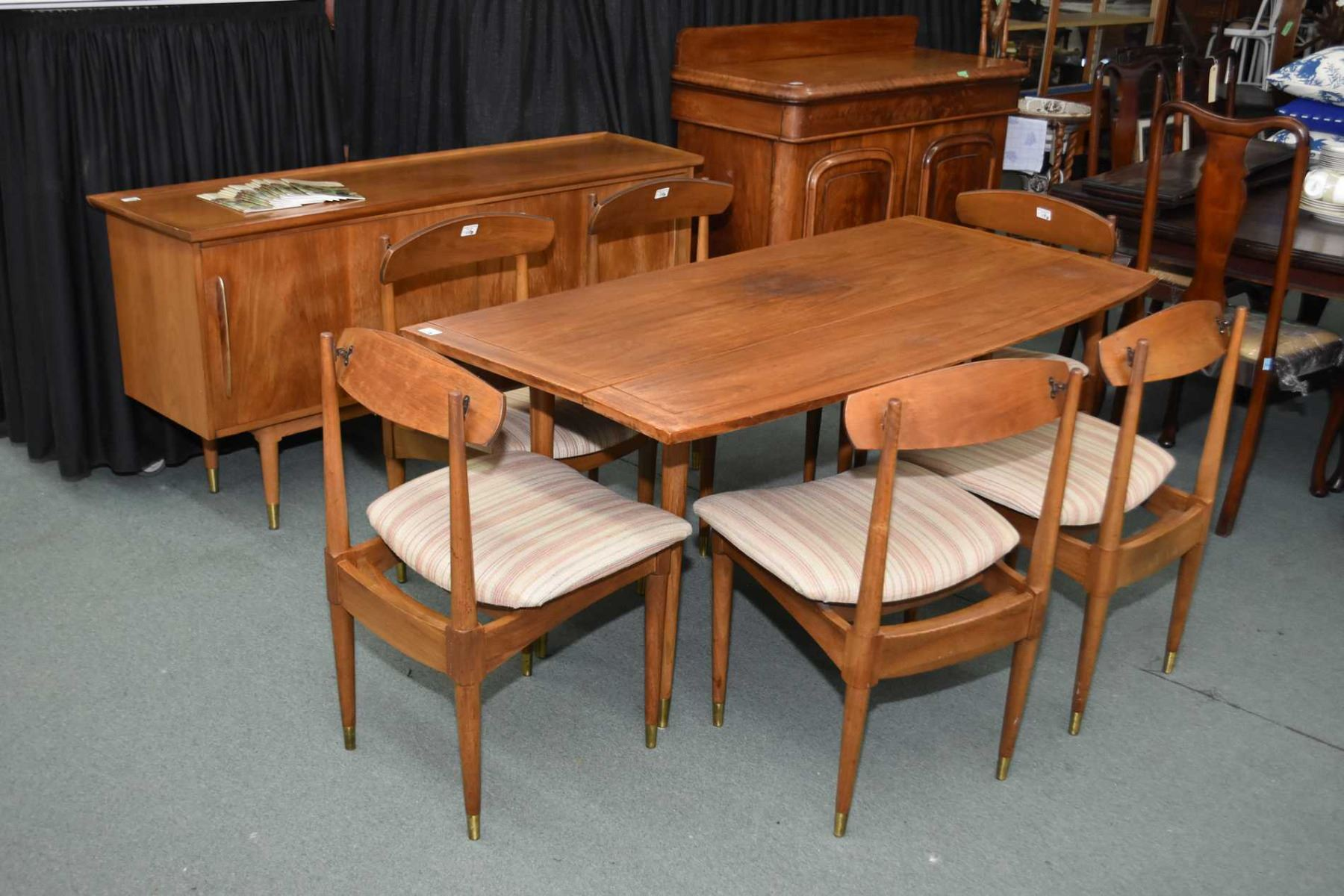 Excellent Mid Century Modern Teak Dining Set Including Drop Leaf Table Bralicious Painted Fabric Chair Ideas Braliciousco