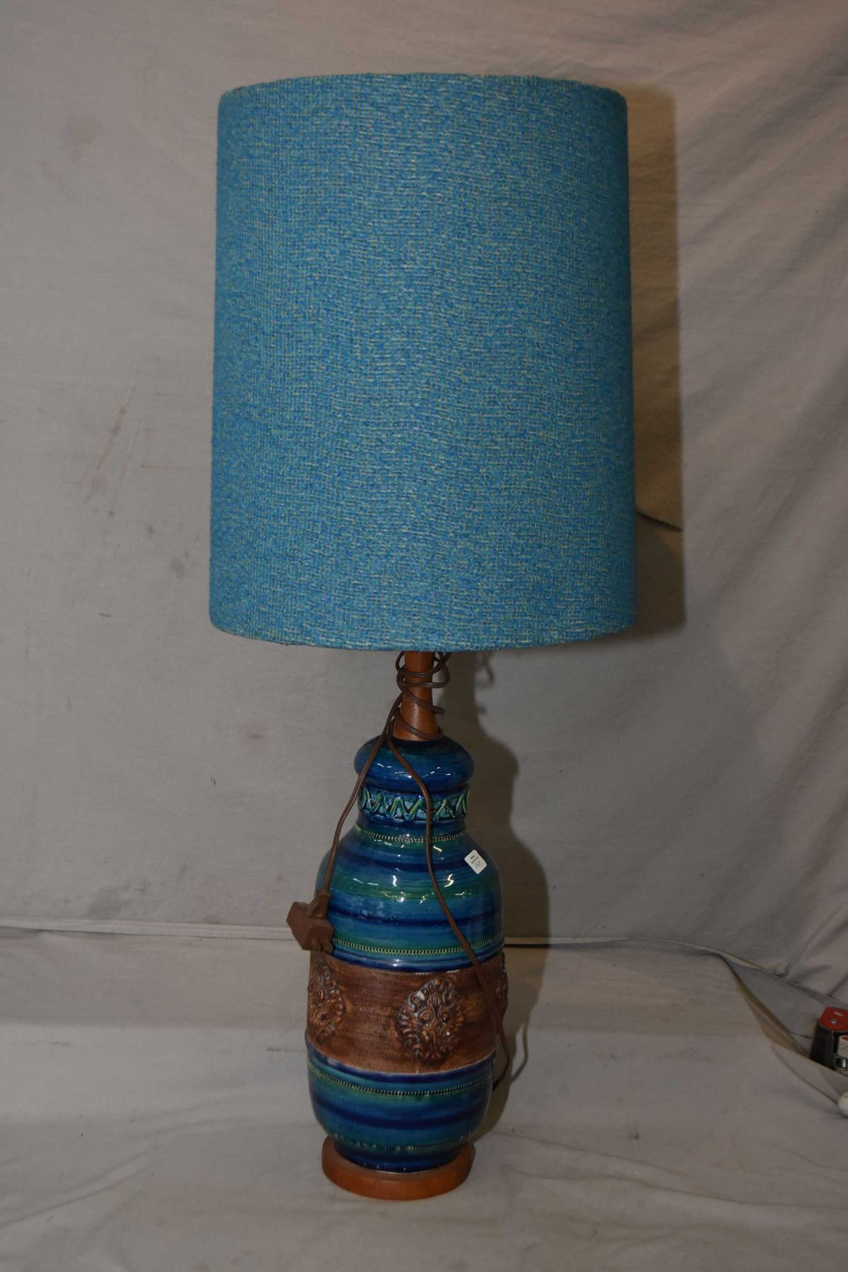 Mid Century Modern Glazed Pottery Lamp With Matching Lamp