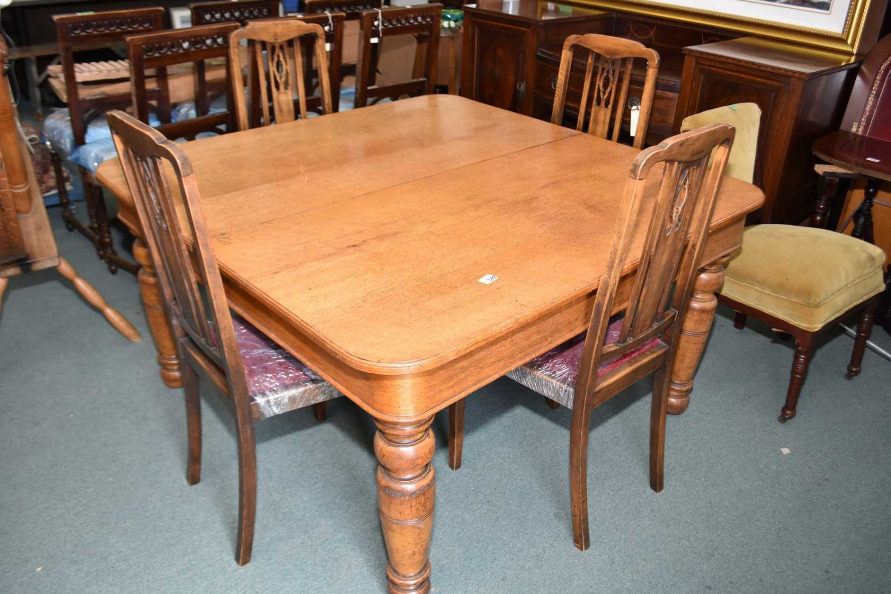 large square wooden kitchen table
