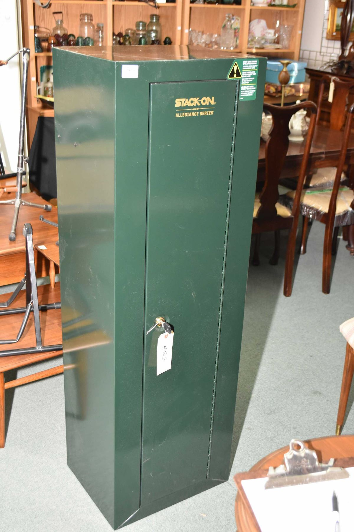 Green Stack-On gun safe with key