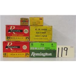 BOX LOT VINTAGE REMINGTON & WINCHESTER SHOT SHELLS