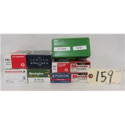 LOT OF 9MM LUGER, 38 SPL, AND 357 MAG AMMO