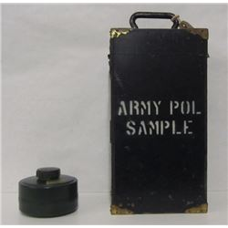 GAS MASK CANISTER & VINTAGE ARMY SAMPLE CRATE