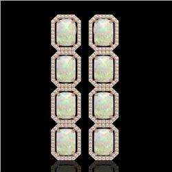 12.99 CTW Opal & Diamond Halo Earrings 10K Rose Gold - REF-203T3M - 41586