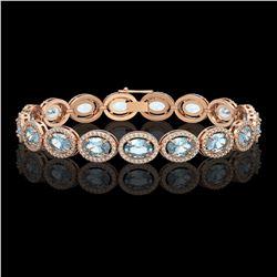 18.38 CTW Aquamarine & Diamond Halo Bracelet 10K Rose Gold - REF-320N9Y - 40626