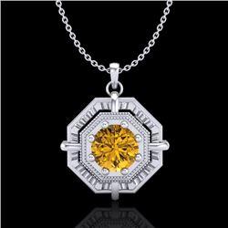 0.75 CTW Intense Fancy Yellow Diamond Art Deco Stud Necklace 18K White Gold - REF-153T6M - 37462