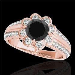1.5 CTW Certified VS Black Diamond Solitaire Halo Ring 10K Rose Gold - REF-76H4A - 34472