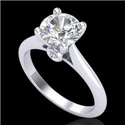 1.6 CTW VS/SI Diamond Art Deco Ring 18K White Gold - REF-555X2T - 37292