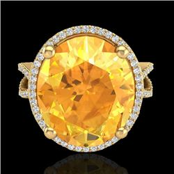 10 CTW Citrine & Micro Pave VS/SI Diamond Halo Ring 18K Yellow Gold - REF-80Y2K - 20959