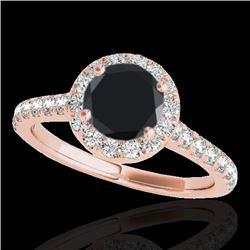 1.4 CTW Certified VS Black Diamond Solitaire Halo Ring 10K Rose Gold - REF-63Y8K - 33584