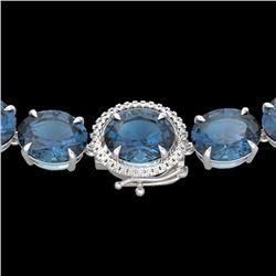 177 CTW London Blue Topaz & VS/SI Diamond Halo Micro Necklace 14K White Gold - REF-563M5H - 22303